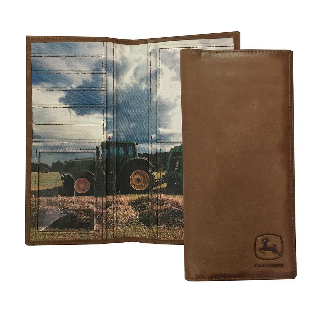 JOHN DEERE Checkbook/Buff Burnished Tan/Jd Emboss/Canvas Interior W Jd Tractor Scene/Jd Black Box JOHN DEERE CHECKBOOK HOLDER Color: TAN. Material: Canvas.