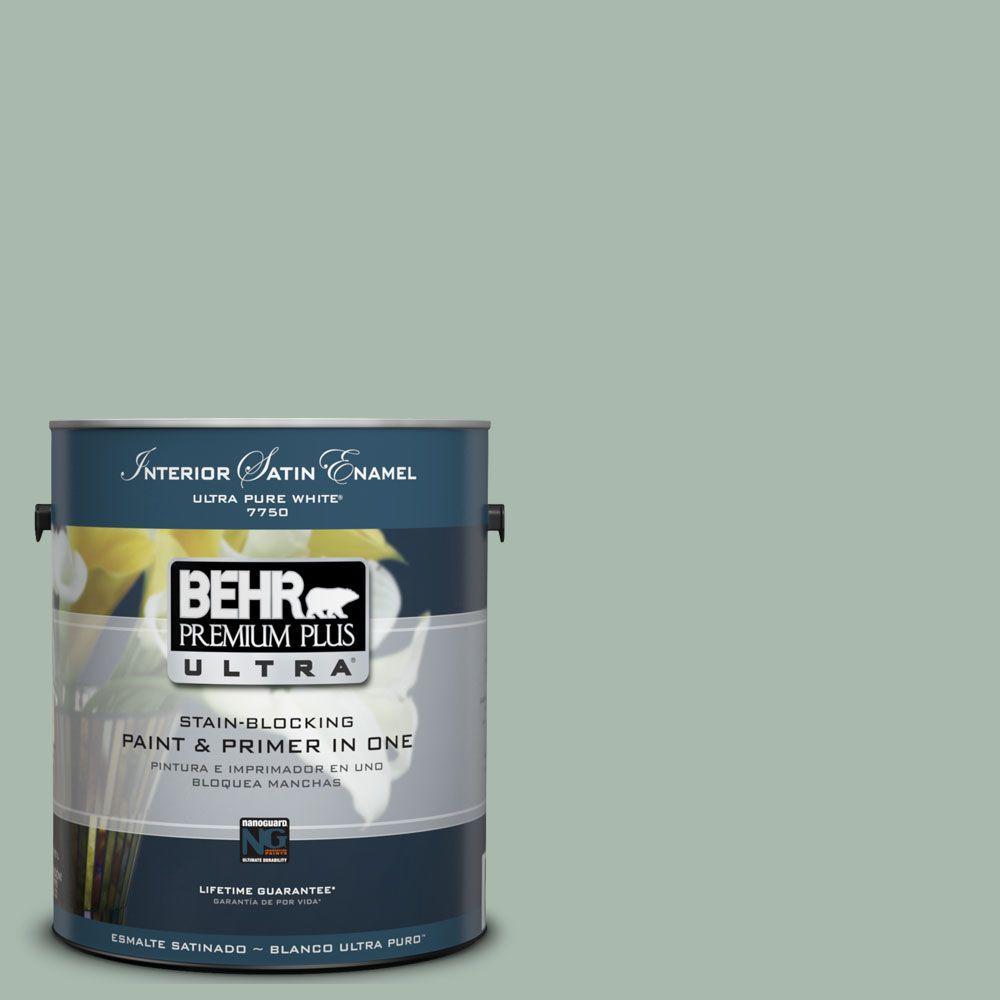 BEHR Premium Plus Ultra 1-Gal. #UL220-14 Zen Interior Satin Enamel Paint