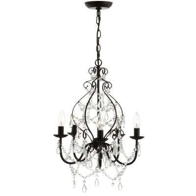 Maura 17 in. 5-Light Black Crystal/Metal Chandelier