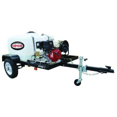 3800 psi at 3.5 GPM HONDA GX270 with CAT Triplex Pump Professional Gas Powered Pressure Washer Trailer