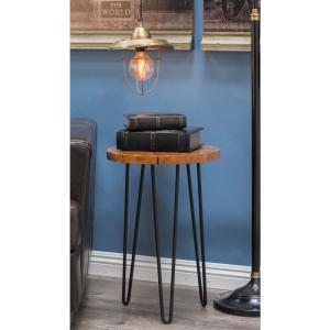 23 inch x 15 inch Rustic Iron and Teak Wood Natural Brown Round Accent Table by