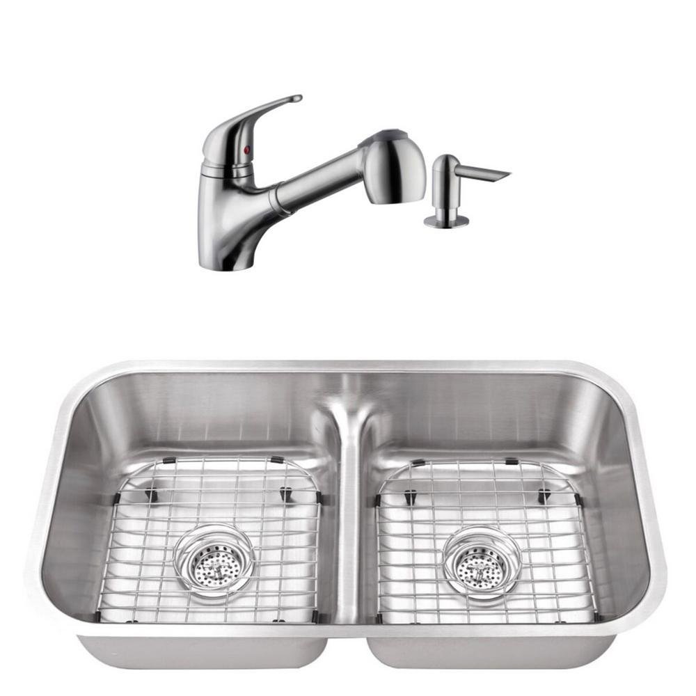 Cahaba Undermount Stainless Steel 32-1/2 in. 50/50 Double Bowl Kitchen Sink  with Brushed Nickel Faucet