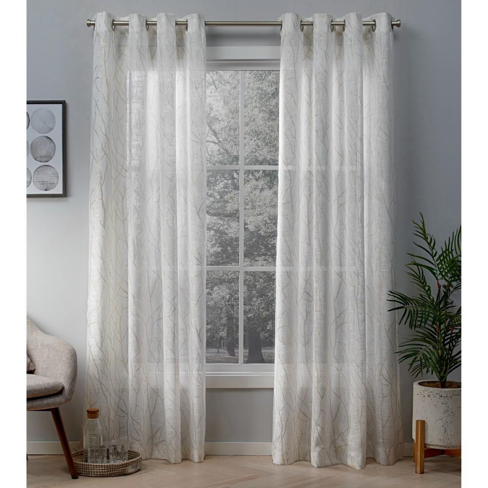 Woodland winter white gold printed metallic branch sheer textured linen grommet top window curtain