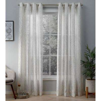Woodland 54 in. W x 96 in. L Sheer Grommet Top Curtain Panel in Winter White, Gold (2 Panels)