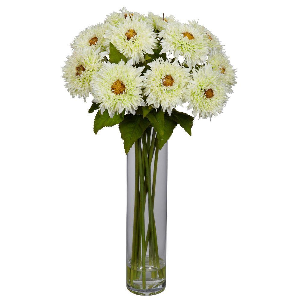 27 In H White Sunflower With Cylinder Silk Flower Arrangement 1246