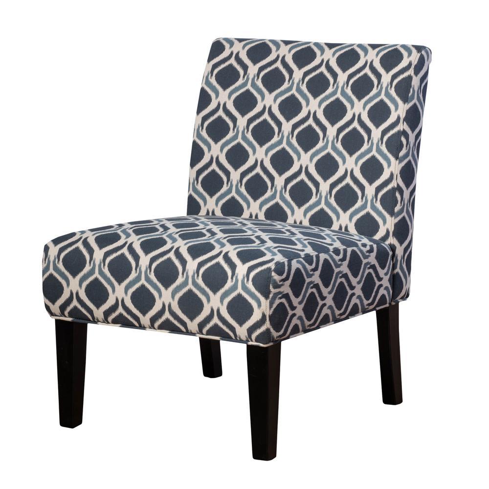 Navy Blue and White Fabric Geometric Lattice-Designed Slipper Chair