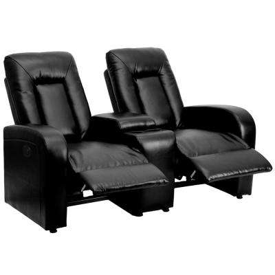 Eclipse Series 2-Seat Motorized, Push Button and Automated Reclining Black Leather Theater Seating Unit with Cup Holders