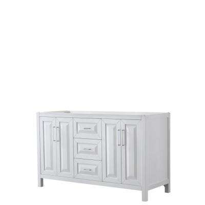 Daria 59 in. Double Bathroom Vanity Cabinet Only in White