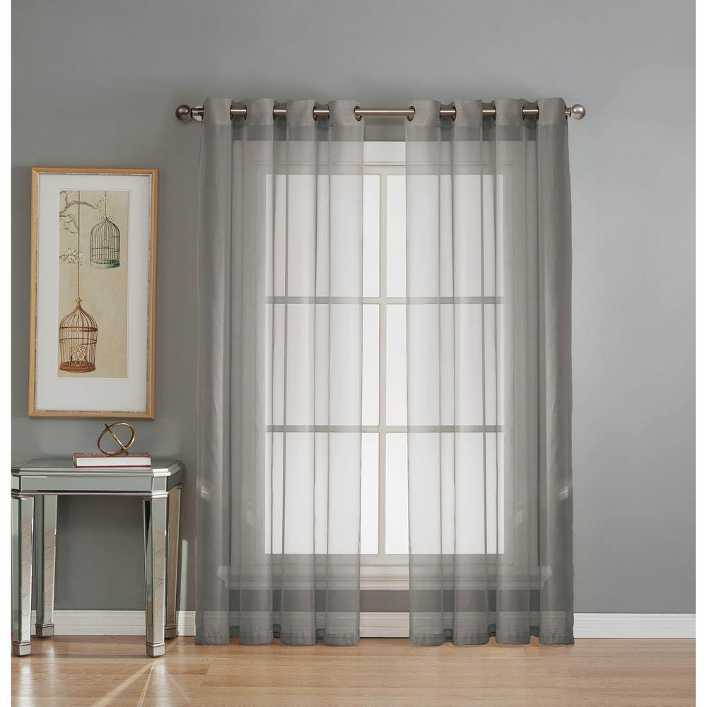 Window elements sheer diamond sheer voile gray grommet extra wide curtain panel 56 in