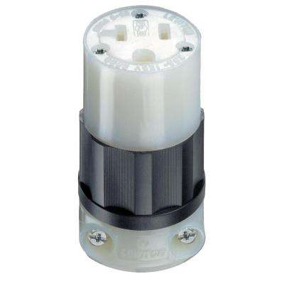 20 Amp 125-Volt Straight Blade Grounding Connector, Black/White