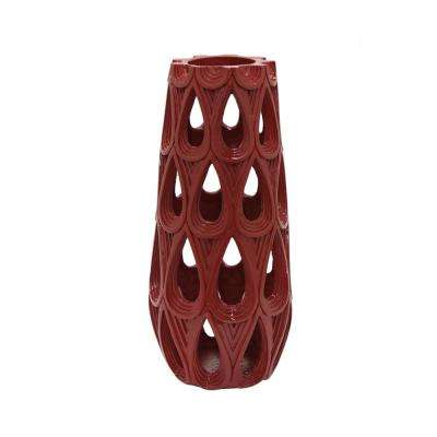 Decorative Deep Red Resin Pierced Vase