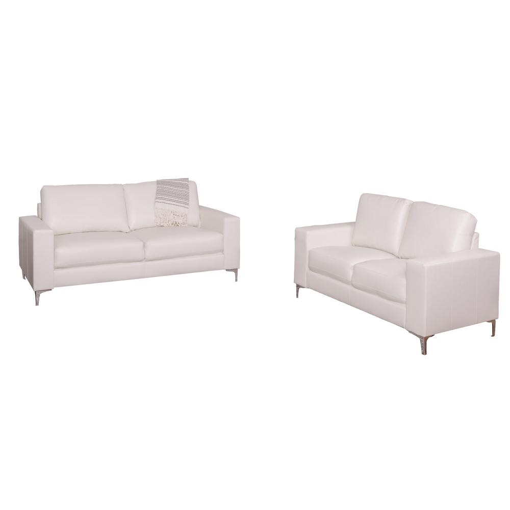 CorLiving Cory 2 Piece Contemporary White Bonded Leather Sofa Set