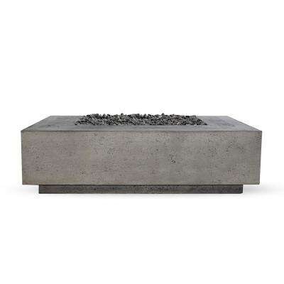 Tiburon 56 in. x 16 in. Rectangle Concrete Propane Fire Pit Table in Pewter w-27 lbs. Bag of 0.75 in. Black Lava Rocks
