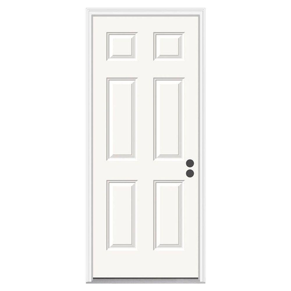 6 Panel Primed Steel Prehung Left Hand Inswing Front Door  w Brickmould THDJW166100261 The Home Depot JELD WEN 32 in x 80