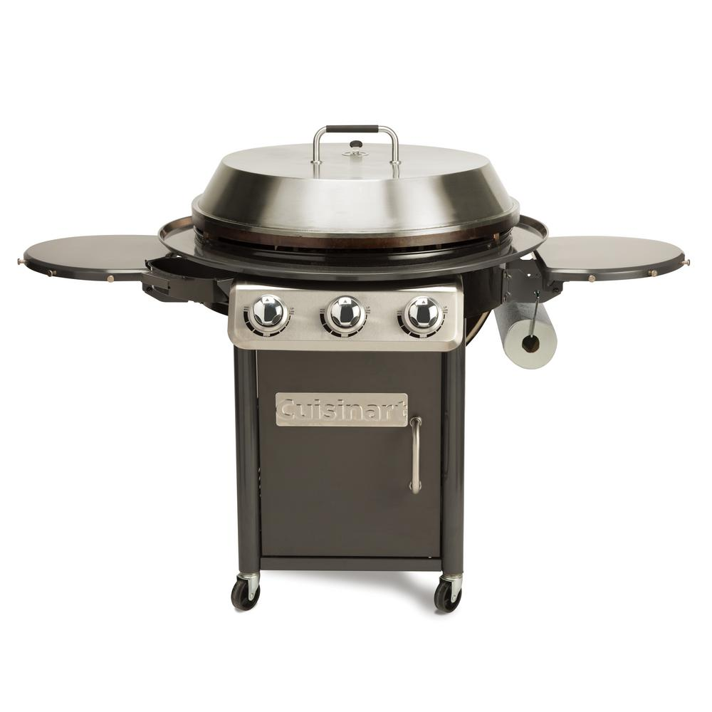 Cuisinart 3-Burner Propane Gas 360-Degree XL Griddle Cooking Center in Gray w/ Stainless Steel Lid