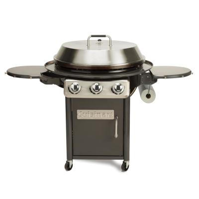 3-Burner Propane Gas 360-Degree XL Griddle Cooking Center in Gray with Stainless Steel Lid