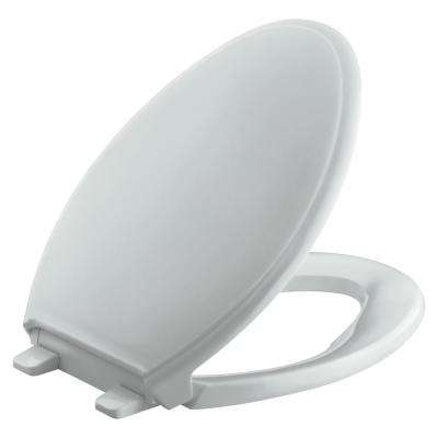 Glenbury Quiet-Close Elongated Toilet Seat with Grip-Tight Bumpers in Ice Grey