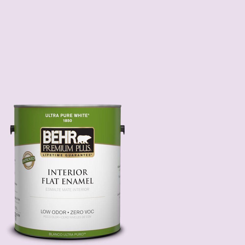 BEHR Premium Plus 1-gal. #650A-2 Ice Ballet Zero VOC Flat Enamel Interior Paint-DISCONTINUED