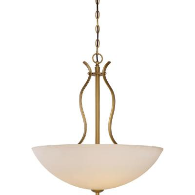 4-Light Natural Brass Pendant