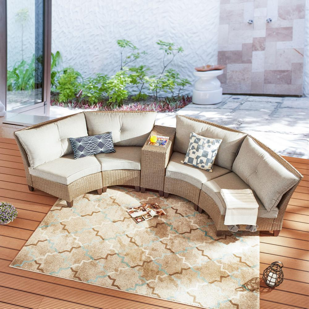 Patio Festival 5 Piece Wicker Patio Conversation Seating Set With Gray Cushions Pf19701 701 701 701 275 G The Home Depot