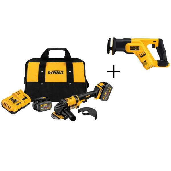 FLEXVOLT 60-Volt MAX Lithium-Ion Cordless Brushless 4-1/2 in. Angle Grinder with Batteries and Bonus Reciprocating Saw