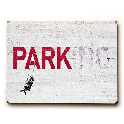 "9 in. x 12 in. ""Parking"" by Banksy Solid Wood Wall Art"