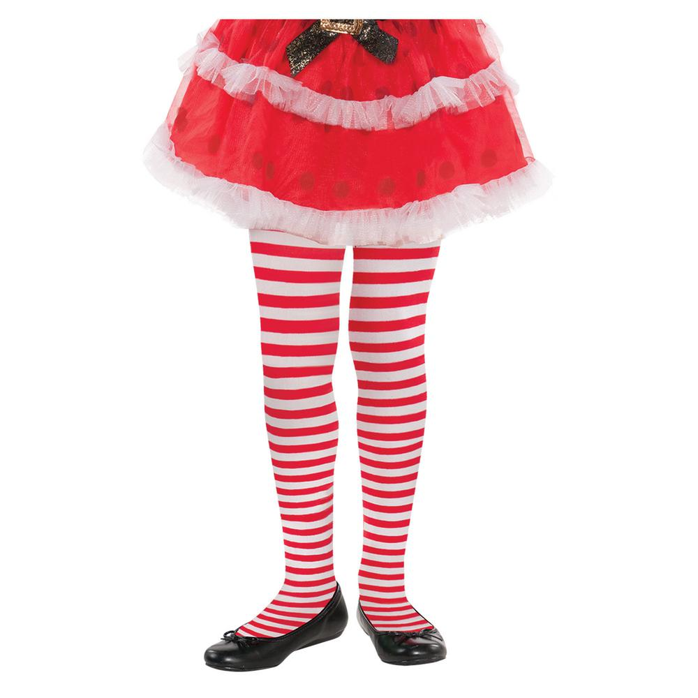amscan child ml candy cane striped christmas red and white tights 3
