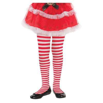 Child M/L Candy Cane Striped Christmas Red and White Tights (3-Pack)