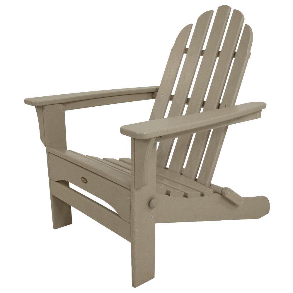 Trex Outdoor Furniture Cape Cod Sand Castle Folding Plastic Adirondack Chair