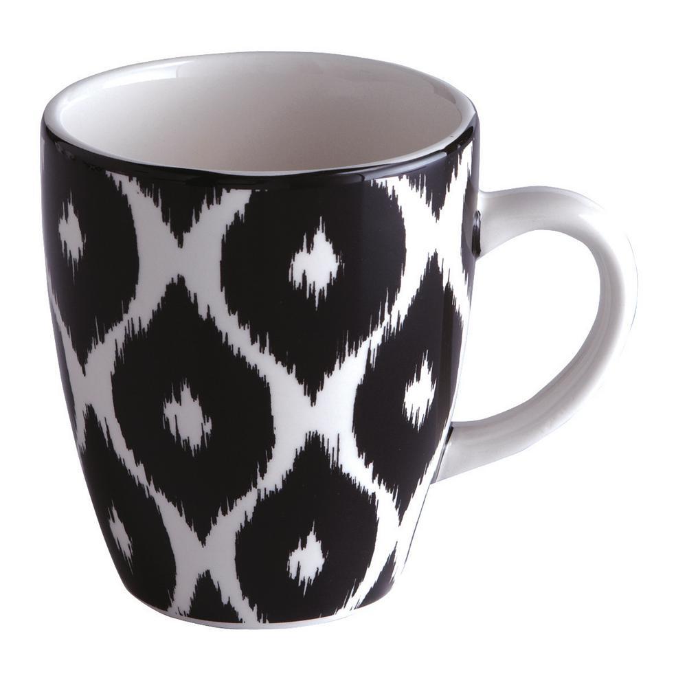 Bella Ikat 12 oz. Black White Ceramic Coffee Mug (Set of 4)