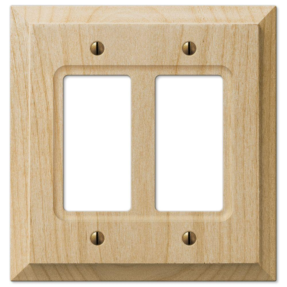 Hampton Bay Cabin 2 Decora Wall Plate Unfinished Alder Wood