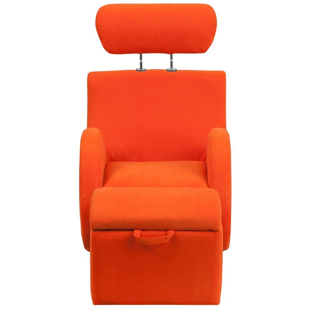 Flash Furniture Hercules Series Orange Fabric Rocking Chair With Storage  Ottoman