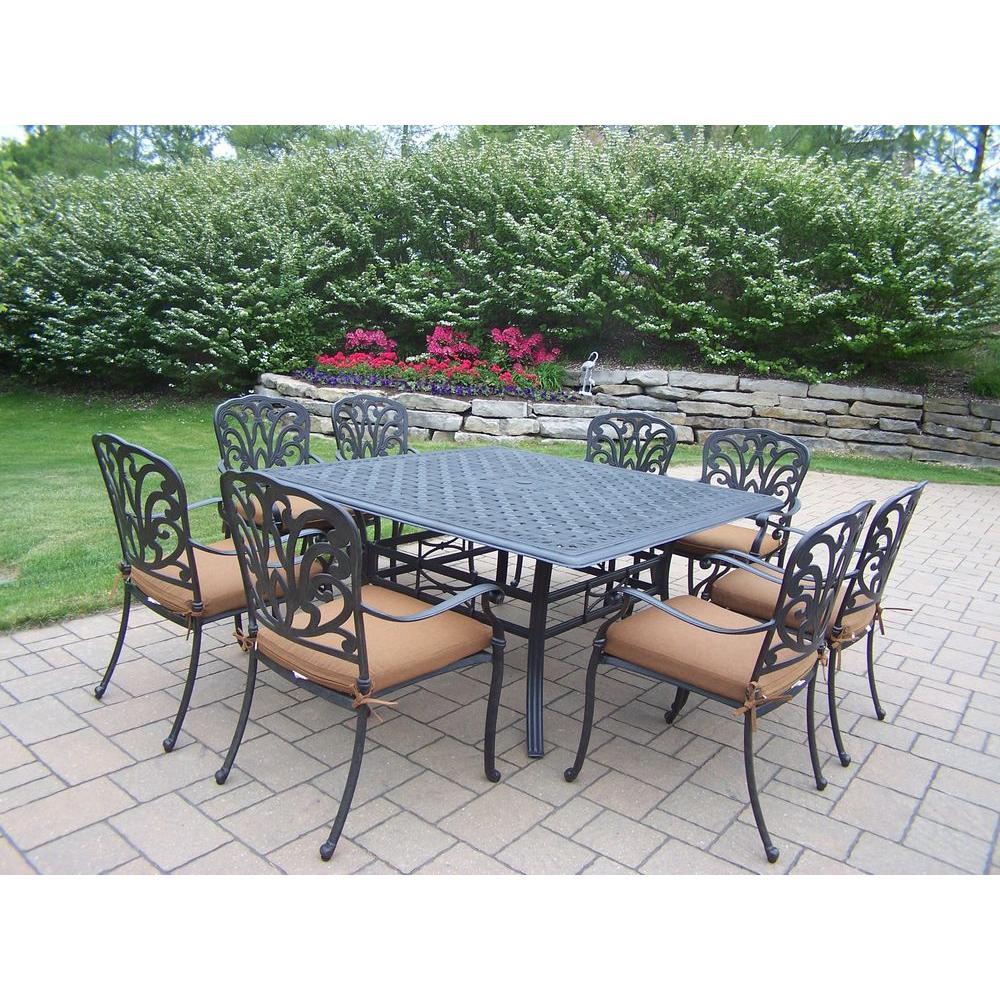 Cast Aluminum 9 Piece Square Patio Dining Set With Sunbrella Cushions