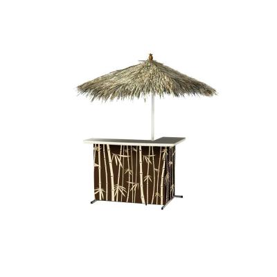 Tiki All-Weather L-Shaped Patio Serving Bar with 6 ft. Umbrella