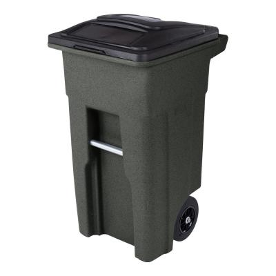 32 Gal. Greenstone Trash Can with Quiet Wheels and Attached Lid