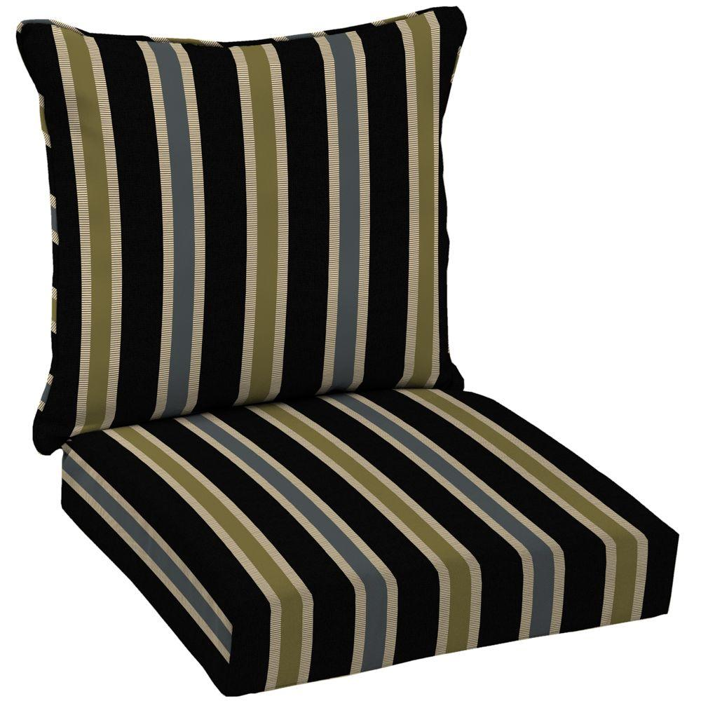 Hampton Bay Black Ribbon Stripe Welted 2-Piece Deep Seating Outdoor Lounge Chair Cushion Set