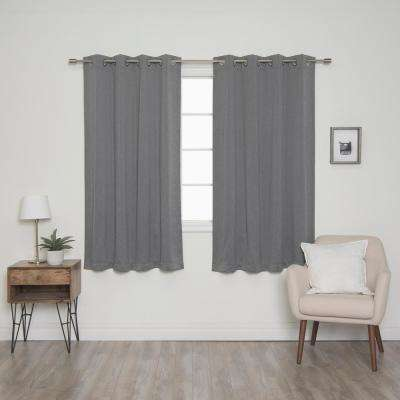 Heathered Linen Look 52 in. W x 63 in. L Grommet Blackout Curtains in Grey (2- Pack)