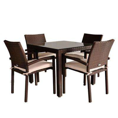 Liberty 5-Piece Wicker Outdoor Dining Set with Brown Cushions