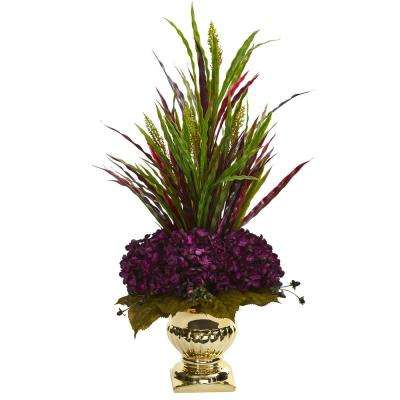 Indoor Grass and Hydrangea Artificial Arrangement in Gold Urn