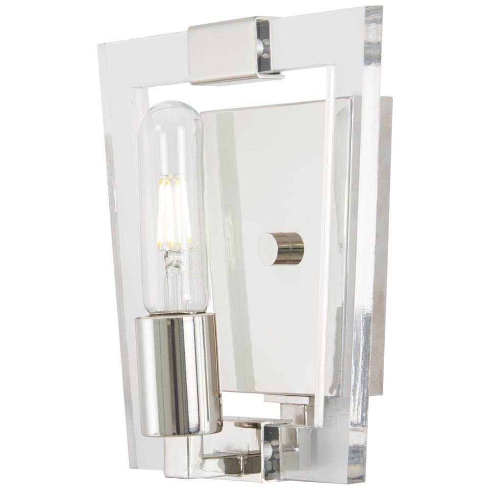 Crystal Chrome 1-Light Polished Nickel Bath Sconce