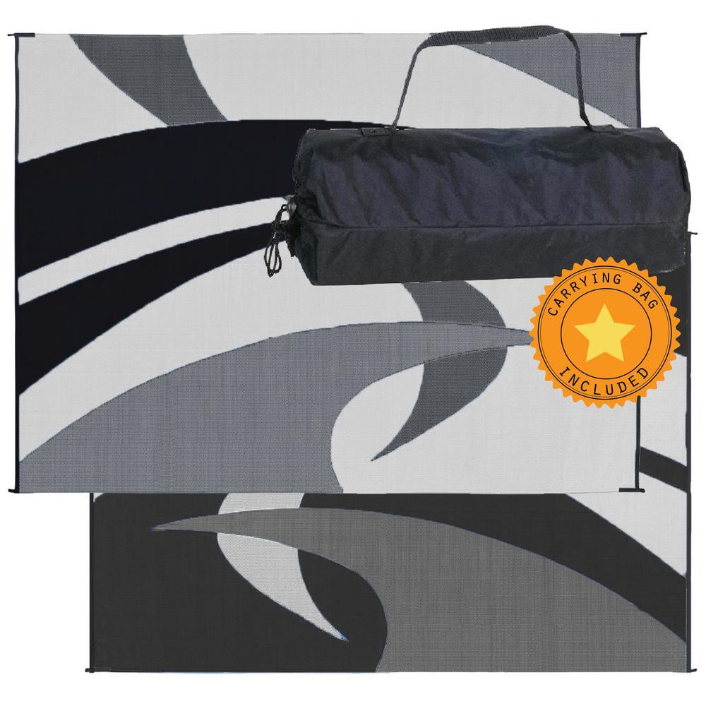 9 ft. x 12 ft. Reversible Mat - Swirl Black/White