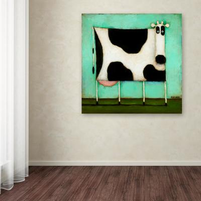 """24 in. x 24 in. """"Turquoise Cow"""" by Daniel Patrick Kessler Printed Canvas Wall Art"""