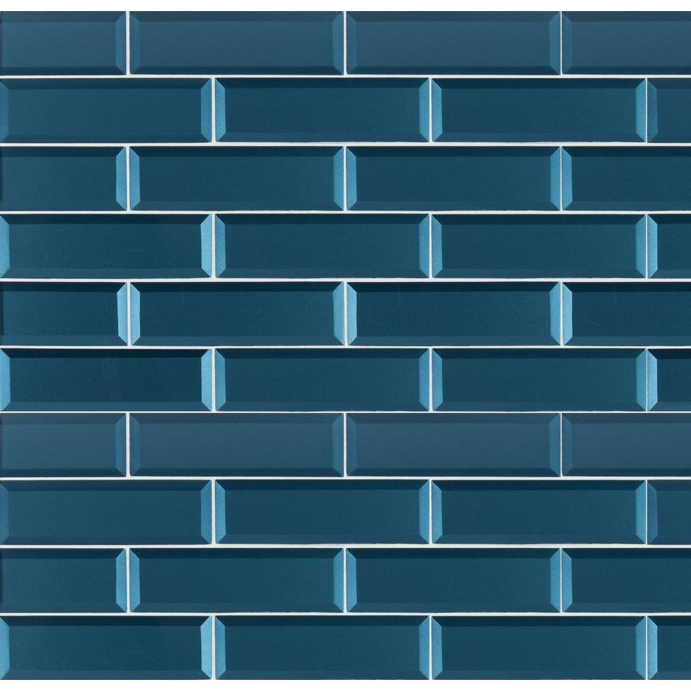 Msi Tahiti Blue Beveled 2 5 In X 9 8mm Gl Wall Tile