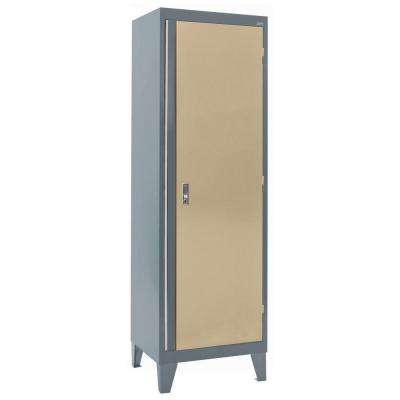 24 in. W x 18 in. D x 79 in. H Modular Steel Single Door Cabinet, Full Pull in Charcoal/Tropic Sand