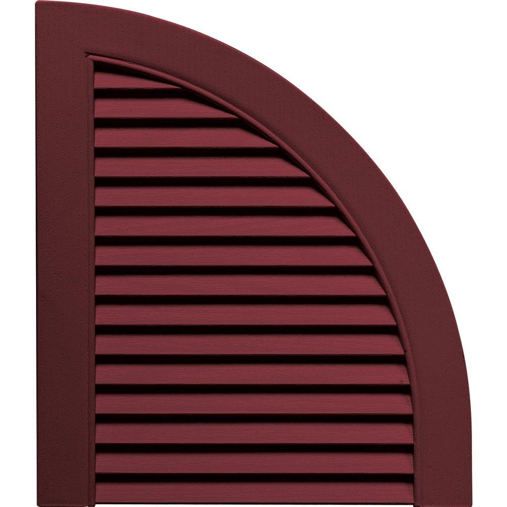 Builders Edge 15 in. x 17 in. Louvered Design Wineberry Quarter Round Tops Pair #078