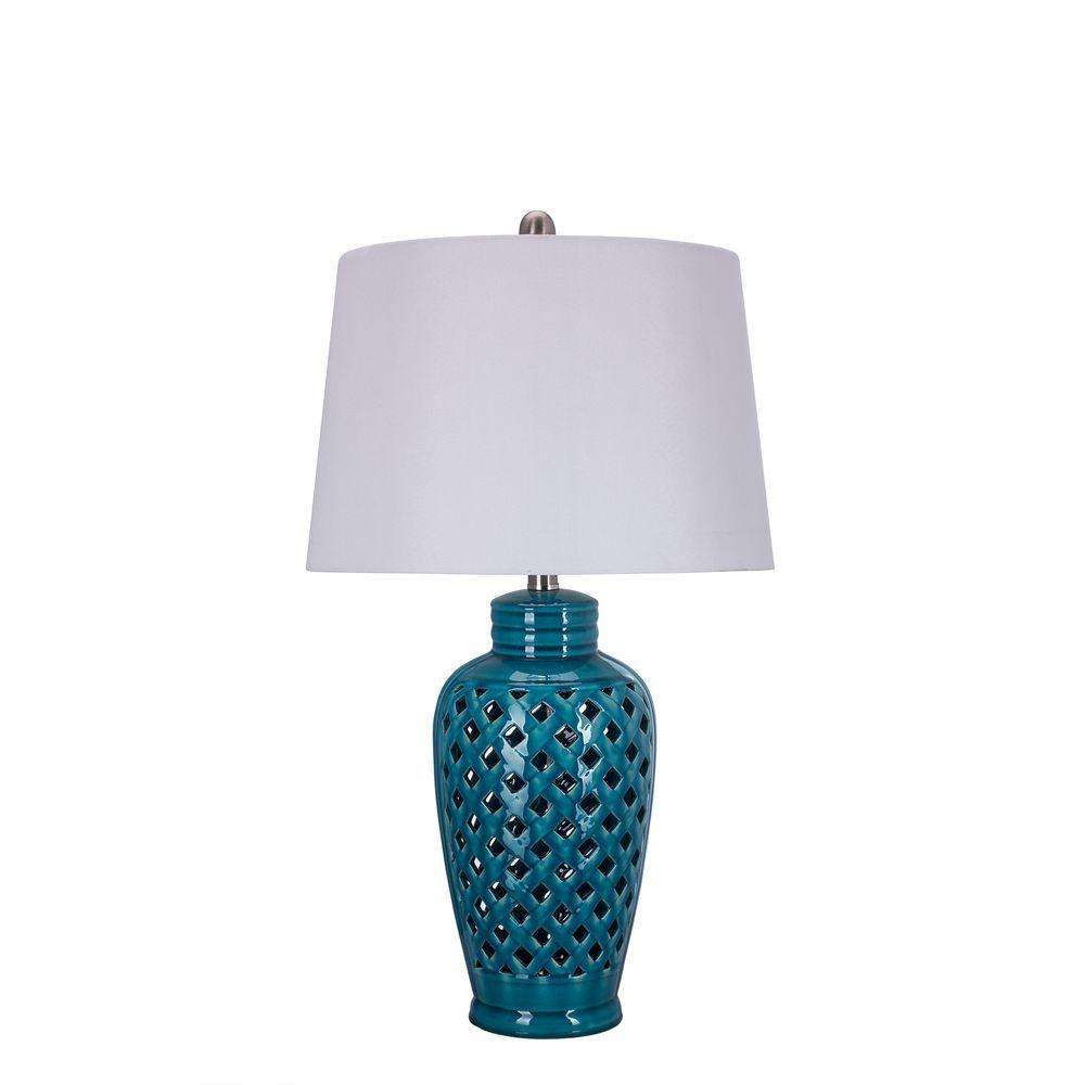 Fangio Lighting 26 in. Blue Ceramic Table Lamp with Lattice Design ...