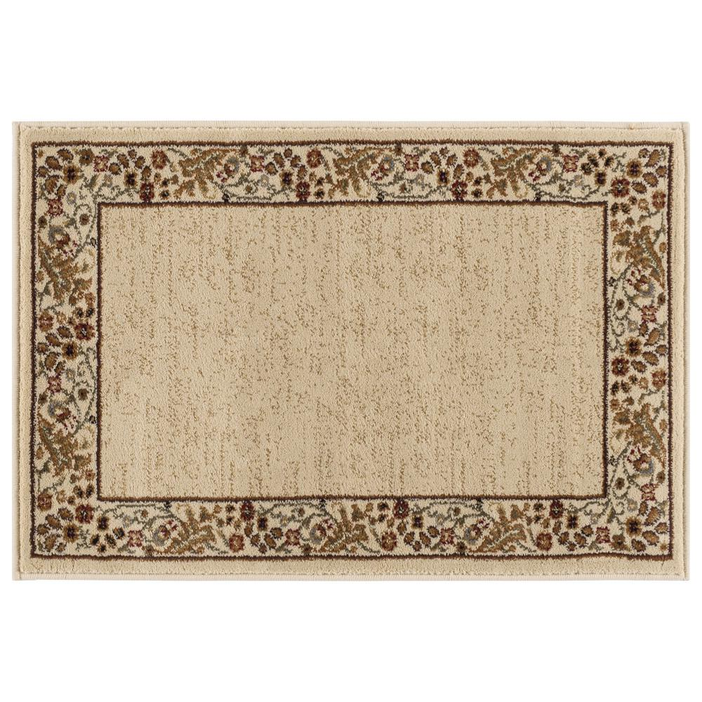 Ottomanson Traditional Floral Design Dark Red 2 Ft X 7 Ft: Tayse Rugs Sensation Beige 2 Ft. X 3 Ft. Transitional Area