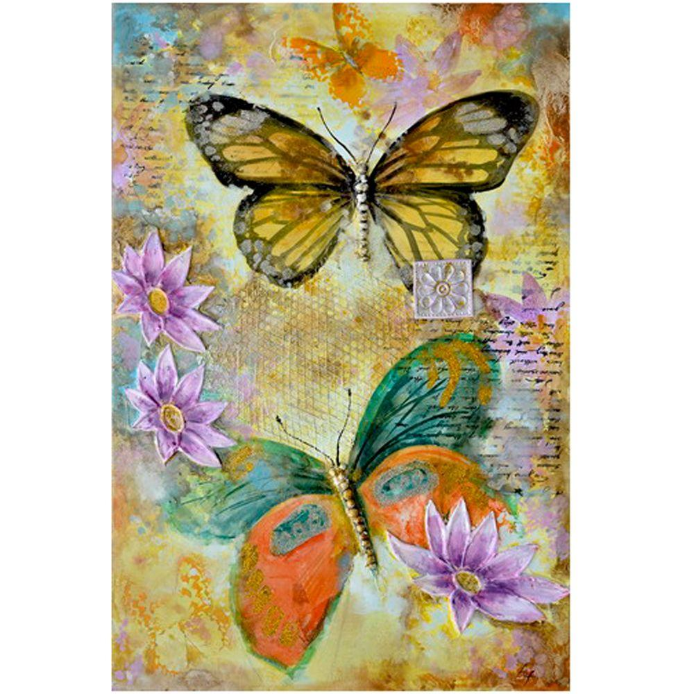 "Yosemite Home Decor 47 in. x 31 in. ""Butterfly Garden II"" Hand Painted Canvas Wall Art"