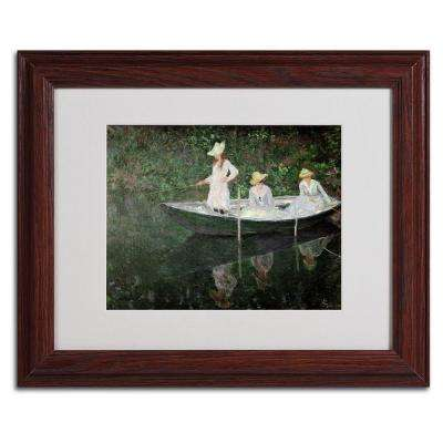 11 in. x 14 in. The Boat at Giverny Matted Brown Framed Wall Art