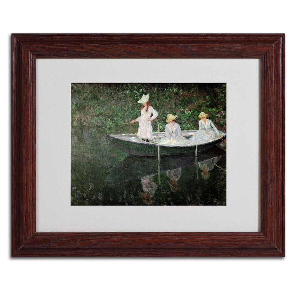 Trademark Fine Art 11 in. x 14 in. The Boat at Giverny Matted Brown Framed Wall Art